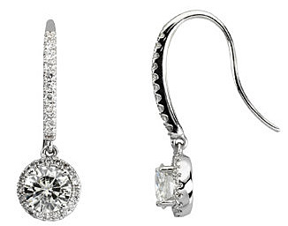 Fancy Diamond Studded 14k White Gold Wire Back Dangle Earrings With 1.38 6mm Round Moissanite Halo Charm