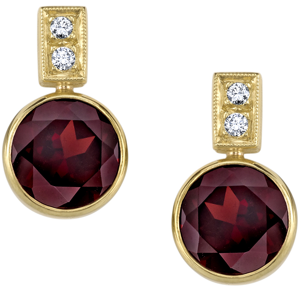 Fancy Handmade 18kt Yellow Gold Post Back Dangle Bezel Set Round Garnet Earrings - 0.20ctw Diamond Accents