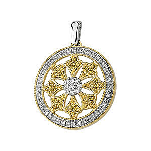 Fantastic 1/2ct Finely Crafted Circle Medallion Pendant With Natural Yellow and White Diamonds in 14k Yellow Gold - FREE Chain
