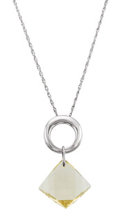 Fantastic 13.9ct 15mm Twisted Lime Quartz Hanging from a Sterling Silver Loop - FREE Chain