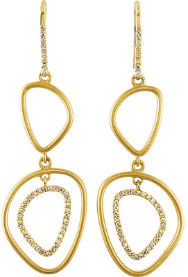 Fantastic 14k Yellow Gold Wire Back Open Silhouette Dangle Earrings With .375, 1.00 - 1.30 mm Diamond Accents for SALE