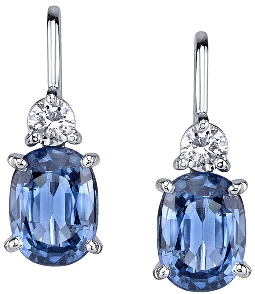 Fantastic 4.20ctw Oval Blue Sapphire Dangle Earrings in 18kt White Gold - Diamond Accents