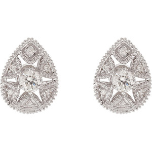 Fantastic .625 ct Pear Shape Stud White Gold Diamond Earrings with Star Shaped Cutout - SOLD