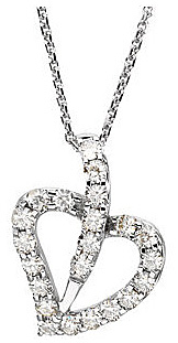 Fantastic .75ct Heart Outline Shape 14k White Gold Pendant With 22 Gorgeous 2mm Created Moissanite Gemstones - FREE Chain Included With Pendant
