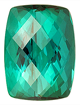Fantastic Blue Green Namibian Cross Checkerboard Cut Tourmaline Gem, Antique Cushion Cut, 14.8 x 11 mm,  11.65 carats