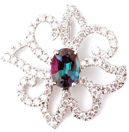 Fantastic Genuine Alexandrite and Diamond Blooming Flower Pendant in 14k White Gold - Great Bargain! - 0.61 carats