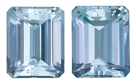 Fantastic Pair of Brazilian Aquamarine Gems, Emerald Cut, 6.48 Carats