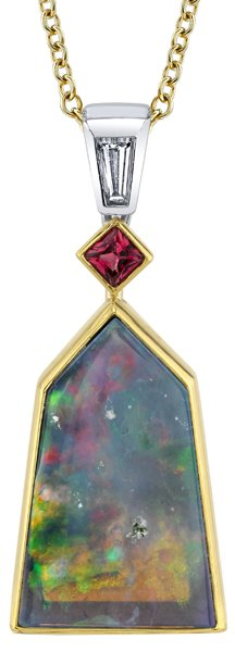 Fantastic Pyramid Shape 12.23ct Black Opal 18kt 2-Tone Designer Pendant - Princess Cut Red Spinel & Baguette Diamond Accents