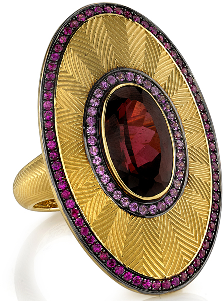 Fantastic Rhodolite Garnet Statement Ring With Pink Sapphire & Ruby Accents - Hand Engraved