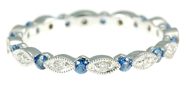 Fantastic Stackable Ring for SALE - 13 Brilliant 2mm .35ct Blue Sapphires and 12 Shimmering Diamonds