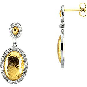 Fashionable .5 ct Oval Shape 2 Tone White and Yellow Gold Earrings with Diamond Accents