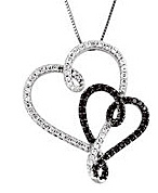 Fashionable Curly Interlocking Heart Style Pendant With 1/2ct Black and White Diamonds in 14k White Gold - FREE Chain Included With Pendant