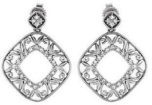 Fashionable Large Sterling Silver Dangle Earrings With Post Back Closure - .2 cts of Diamond Accents, 0.95 - 1.10 mm stones