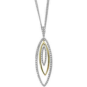 Fashionable Multi Marquise Shaped Two-Tone 14k White and Yellow Gold Pendant with Diamond Accents - FREE Chain - SOLD