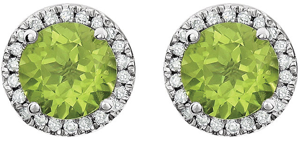 Fashionable Peridot Birthstone Earrings With Halo Diamond Accents in 14k White Gold - 2.9ct 6mm Round Gem