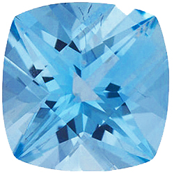 Faux Faceted Antique Square Shape Standard Size Aquamarine Blue Gem Sized 5.00 mm