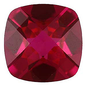 Faux Faceted Antique Square Shape Standard Size Red Ruby Gem Sized 6.00 mm