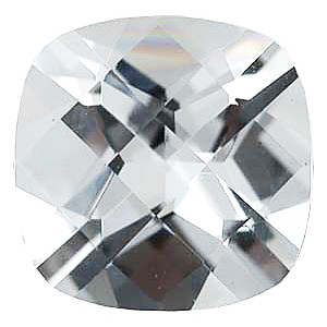 Faux Faceted Antique Square Shape Standard Size White Diamond Gem Sized 10.00 mm