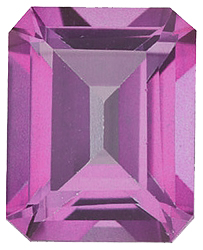 Faux Faceted Emerald Shape Standard Size Tourmaline Pink Gem Sized 5.00 x 3.00 mm