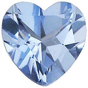 Faux Faceted Heart Shape Standard Size Aquamarine Blue Gem Sized 5.00 mm