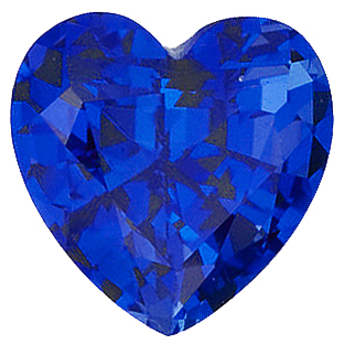 Faux Faceted Heart Shape Standard Size Blue Sapphire Gem Sized 5.00 mm