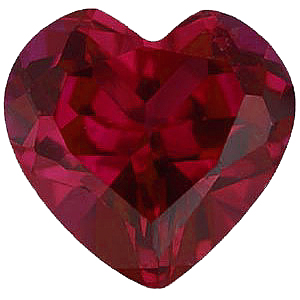 Faux Faceted Heart Shape Standard Size Red Ruby Gem Sized 4.00 mm