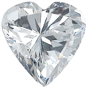 Faux Faceted Heart Shape Standard Size White Diamond Gem Sized 7.00 mm
