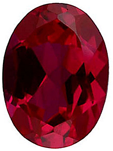 Faux Faceted Oval Shape Standard Size Red Ruby Gem Sized 5.00 x 3.00 mm