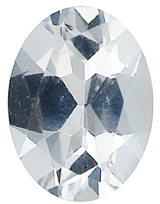 Faux Faceted Oval Shape Standard Size White Diamond Gem Sized 5.00 x 3.00 mm