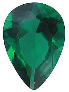 Faux Faceted Pear Shape Standard Size Green Emerald Gem Sized 5.00 x 4.00 mm
