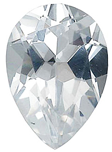 Faux Faceted Pear Shape Standard Size White Diamond Gem Sized 9.00 x 6.00 mm
