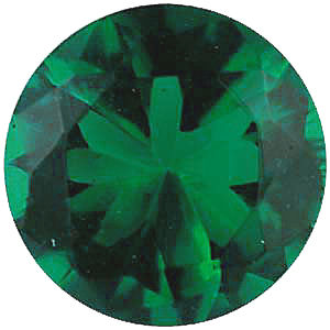 Faux Faceted Round Shape Standard Size Green Emerald Gem Sized 2.00 mm