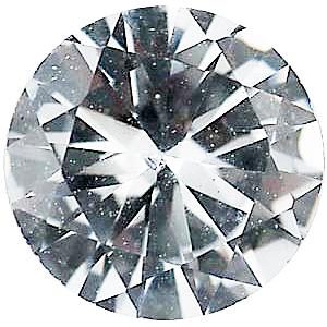 Faux Faceted Round Shape Standard Size White Diamond Gem Sized 2.00 mm