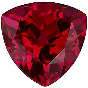 Faux Faceted Trillion Shape Standard Size Red Ruby Gem Sized 6.00 mm
