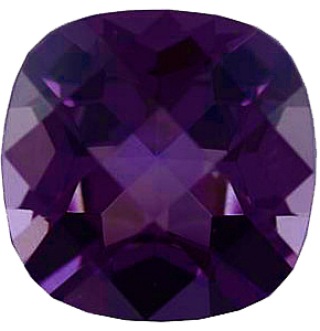 Faux Purple Amethyst Gemstone In Antique Cushion Shape Sized 6.00 mm