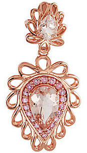 Feminine and Romantic 3.44ct Morganite Pendant With Rose Gold and Pink Tourmaline Accents - 2 Pear Shaped Morganite Gems Sized 7x5mm, 12x8mm - FREE Chain With Pendant