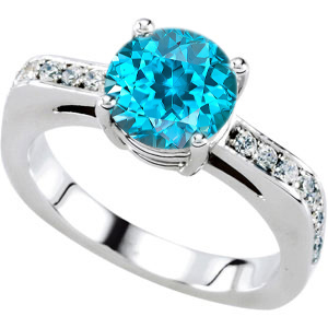 Feminine & Fancy Engagement Ring With Genuine Blue Zircon Round Centergem - 18 Diamond Accents in Band - SOLD