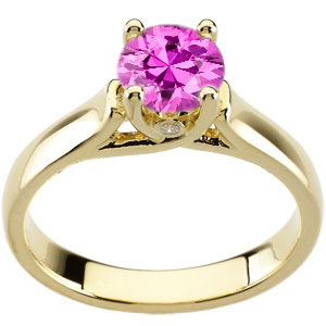 Feminine & Flirty Woven Prong with 1 carat 6mm Gorgeous Pink Sapphire Solitaire Engagement Ring - Bezel Set Diamond Accents
