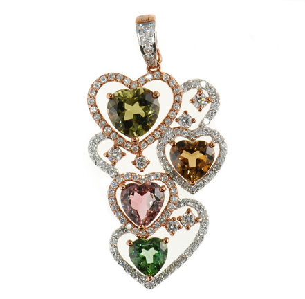 Feminine Multicolored Tourmaline and Diamond Heart Pendant for SALE - SOLD