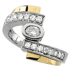 Fetching 0.75 Carat Total Weight Diamond Right Hand Ring set in 14 karat Yellow & White Gold - SOLD