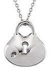 Fetching .04ct Diamond Accented Sterling Silver Lock Style Pendant for SALE - FREE Chain Included With Pendant - SOLD
