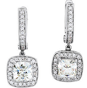 Fetching 1.82ct 6mm Antique Square Moissanite 14k White Gold Earrings - 14k Hoop Style With Dangle Charm - Diamond Accents