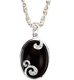 Fetching 18x13mm Onyx & Diamond Pendant set in Sterling Silver - Whimisical Swirl Designs - Free Chain