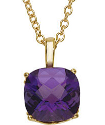 Fetching 3.65ct 10mm Amethyst Pendant or Necklace skillfully set in 14 karat Yellow Gold for SALE