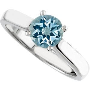 Fetching 4-Prong Round Solitaire set with GEM Blue 1 carat 6.5mm Genuine Aquamarine Engagement Ring - Diamond Accents at Base of Prongs