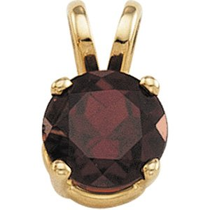 Fetching .8ct 6mm Round Cut Mozambique Garnet Pendant set in 14 karat Yellow Gold - Free Chain