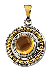Fetching .95ct 6mm Citrine Pendant set in Sterling Silver & 14 karat Yellow Gold - Free Chain