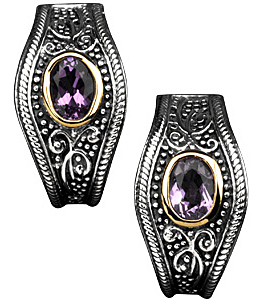 Fetching Bezel Set 0.58dt 7.00 x 5.00 mm Amethyst Earrings set in Sterling Silver and 14 karat Yellow Gold - Old World Style - SOLD