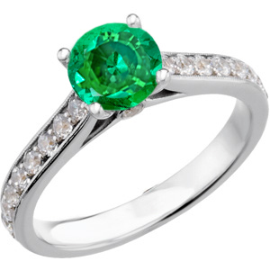 Fetching Genuine Quality Green 1 carat 6mm Emerald Round Solitaire Engagement Ring With Inset Diamond Accents in Band