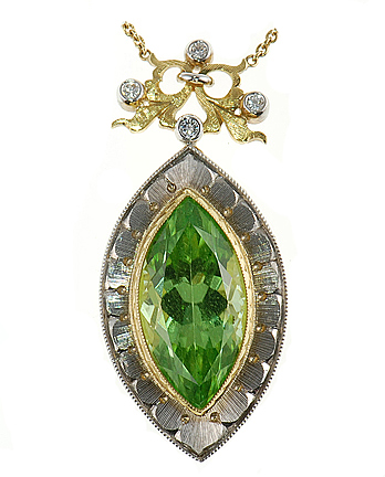 Fetching Handmade Marquise Cut Peridot and Diamond pendant in 18kt gold - SOLD